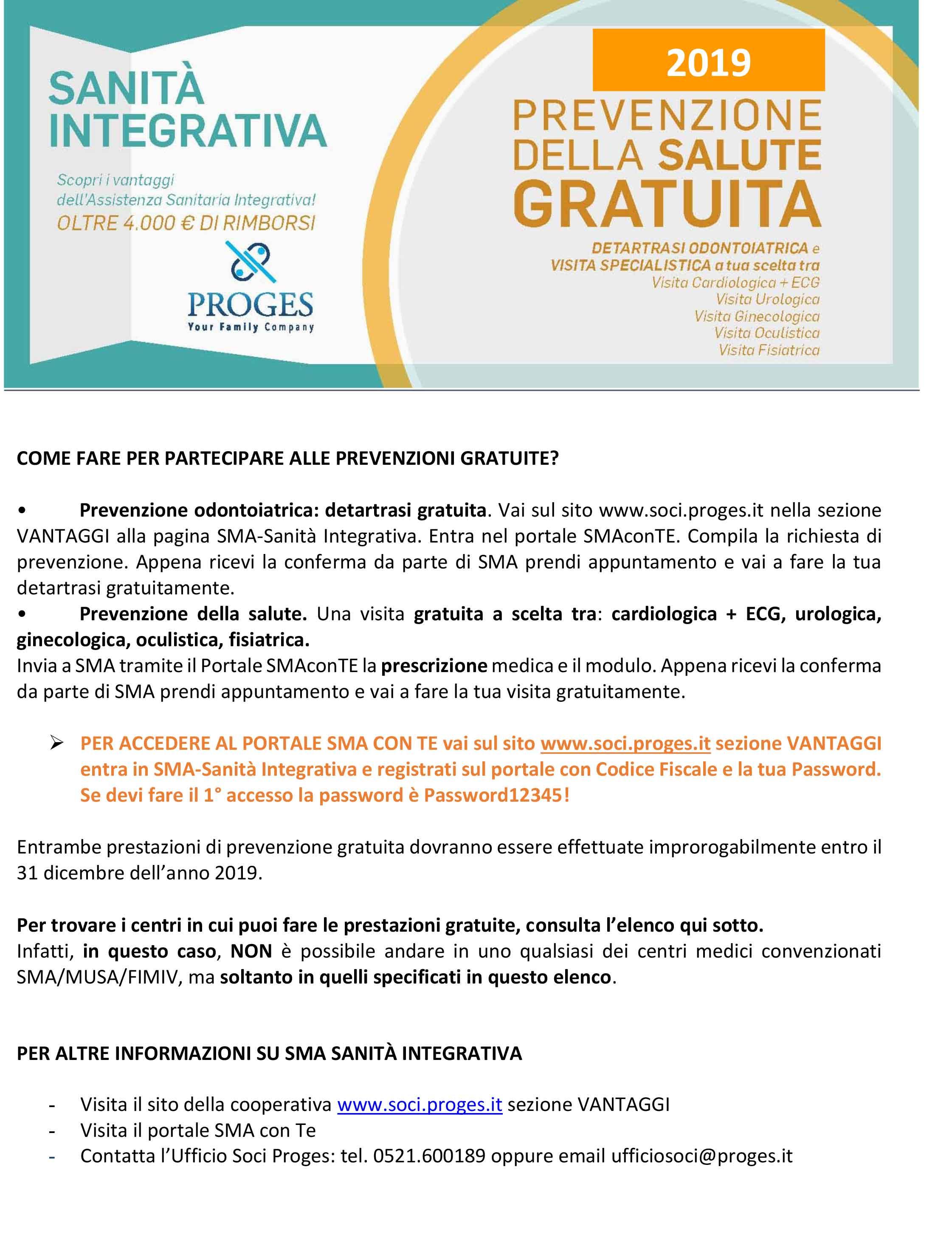 NUOVO PREVENZIONE GRATUITA SMA 2019 immagine