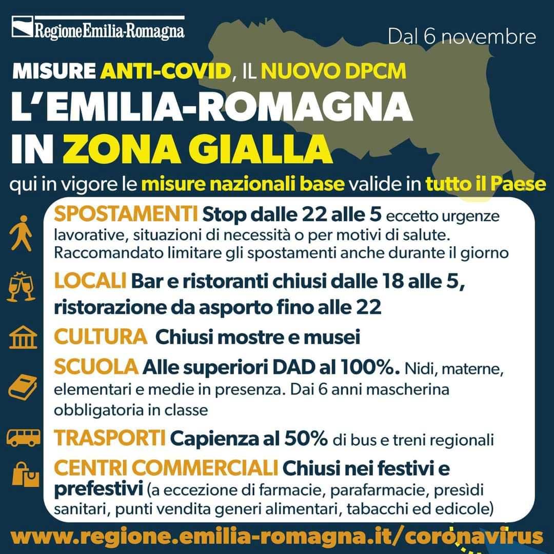 Misure anti-Covid, il nuovo DPCM: l'Emilia Romagna in zona gialla.